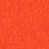 Red Line Bitcoin Seamless Pattern. Vector Illustration of Outline Tile Background. Cryptocurrency Financial Items Stock Photography