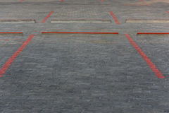 Red line block for car park paint on road Royalty Free Stock Photography