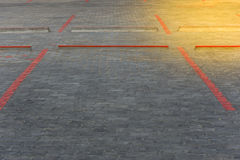 Red line block for car park paint on road Stock Photo