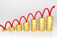 Red Line Bouncing on Coin Graph. 3d render illustration of red line bouncing on stack of gold coins graph Stock Photo