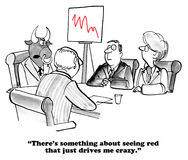 Red Line. Business cartoon about a boss who goes crazy at the sight of a red line Stock Images