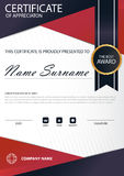 Red line Elegance vertical certificate with Vector illustration ,white frame certificate template with clean and modern pattern. Presentation Royalty Free Stock Image