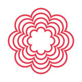 Red line flower icon Stock Images