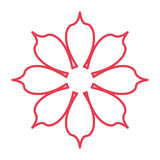 Red line flower icon Stock Image