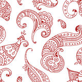Red line indian paisley doodle hand drawn seamless pattern Royalty Free Stock Image
