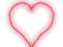 Red line with limb drawing to be heart on white background isolated. royalty free illustration