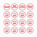 Red line retail and shopping SALE and percentage tags icons set. On white background Stock Image