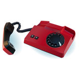 Red line telephone. With a round dial Stock Photo