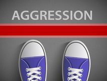 Red line and the word aggression. Human feet on the road. Red line and the word aggression. Stock  graphics Stock Images