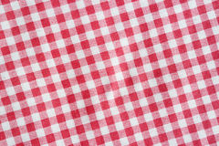 Red linen crumpled picnic blanket. Royalty Free Stock Photography
