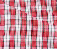 Red linen crumpled tablecloth. Stock Image