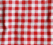Red linen crumpled tablecloth. Royalty Free Stock Photos