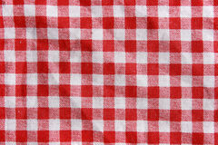 Red linen crumpled tablecloth. Royalty Free Stock Photo