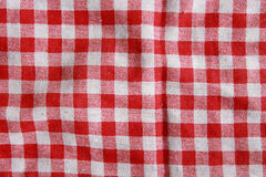 Red linen crumpled tablecloth. Royalty Free Stock Images