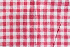 Red linen picnic tablecloth. Royalty Free Stock Images