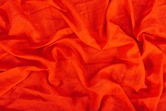 Red linen texture. Close up view of red linen fabric texture Royalty Free Stock Photos