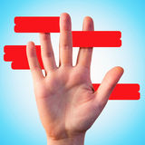 Red lines around hand for your option text Royalty Free Stock Photography