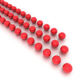 Red lines of billiard balls. Red billiard balls arranged it three lines Royalty Free Stock Photography