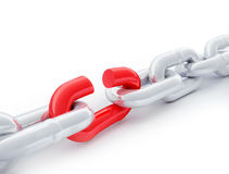 Red link in a chain. 3d rendered image Red link in a metal chain Stock Image