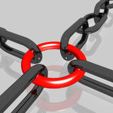 Red Link Chain Shows Teamwork, Connected Royalty Free Stock Images