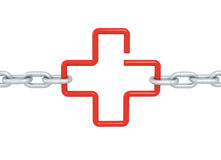 Red link cross symbol locked with metal chains isolated Royalty Free Stock Photos
