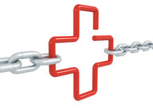 Red link cross symbol locked with metal chains isolated Stock Photography