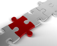 Red Link. Red Jigsaw Piece links Bridge. 3D rendered reflective on white background Royalty Free Stock Images