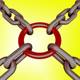 Red Link Yellow Background Shows Strength Security Stock Photography