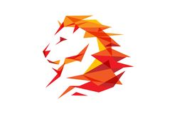 Red Lion Head Logo. Design Illustration Stock Photography