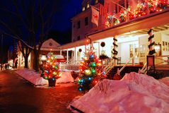 Red Lion Inn, Christmas. The Red Lion Inn in Stockbridge Massachusetts is adorned with Christmas decorations royalty free stock photos
