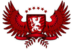 Red Lion Shield. And wings Stock Image
