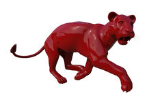 Red lioness sculpture Stock Photos