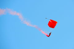 Red Lions parachuting during NDP 2012 Stock Photos