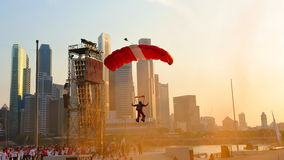 Red Lions parachutist landing during NDP 2011 Stock Photography