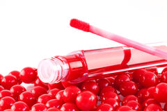 Red lip gloss Stock Images
