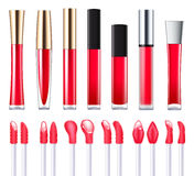 Red lip gloss set. Red lip gloss with applicators set. Make-up cosmetic products vector 3D illustration. Good for ads design stock illustration