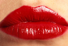 Red Lips. Bright Red Womans Lips Close Up Royalty Free Stock Photos