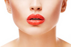 Red lips. Beautiful young girl with red lips stock photography