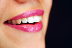 Red lips 2. Young woman red lips with lipstick and lip-gloss royalty free stock images