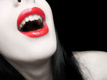 Red lips. Red and pale royalty free stock photo