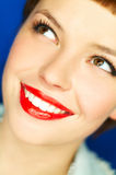 Red Lips. Portrait of beautiful young  smiling woman with red lipstick Stock Photography