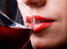 Red Lips And Glass Of Wine Royalty Free Stock Photography