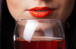 Red Lips And Glass Of Wine Royalty Free Stock Image