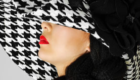 Red Lips And White Black Hat Royalty Free Stock Photo
