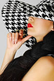 Red Lips And White Black Hat Royalty Free Stock Photography