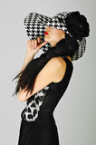 Red Lips And White Black Hat Stock Image
