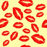 Red lips background. Big red lips track on white background Royalty Free Stock Photography