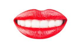 Red lips, beautiful makeup, sensual mouth, sexy lip, smile. Lipstick or lipgloss. Beauty sensual lips, beautiful lip royalty free stock photos