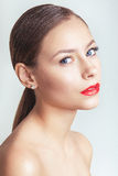 Red Lips. Beautiful model girl with red lips Royalty Free Stock Image