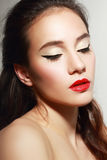 With red lips Royalty Free Stock Photography